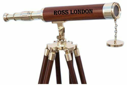 18 Inch Brass Nautical Finish Telescope Vintage With Wooden Tripod Stand Decor