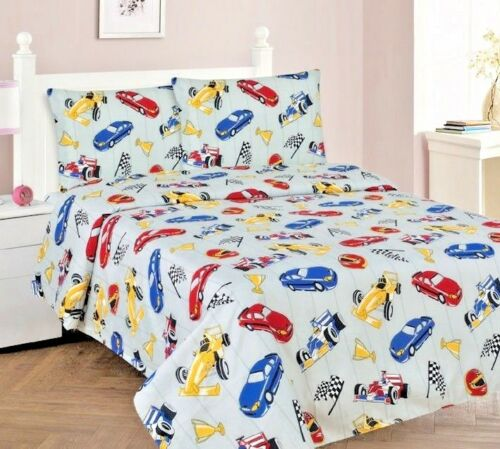 3//4 Piece TWIN//FULL Kids//Teens Fitted Flat SHEET Pillow Cases Set Red Car