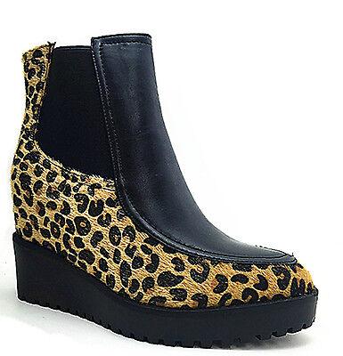 Ladies Negro Leopardo tobillo Botas de cuña oculta, Tamaños 3-8 AM1539-2