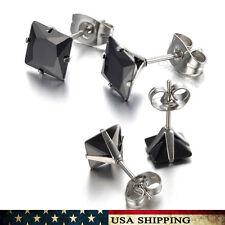 6mm Black CZ Stainless Steel Unisex Men Women Square Earrings Stud Jewelry