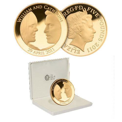 2011 Royal Wedding Commemorative Gold Plated Silver Proof  £5 Coin