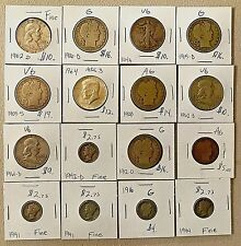 U.S. coin collection silver Barber, Franklin, Mercury, Walker, Kennedy. 16 coins