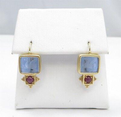 Tagliamonte 14KYG Venetian Intaglio Blue Pegasus Ruby Accent Dangle Earrings