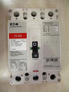EATON CUTLER HAMMER FD Breaker 45 AMP 3 Pole FD3045