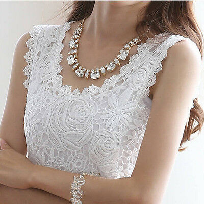 Korean Lady Lace Tank Top Sleeveless Vest Camisole Blouse Tee Tops T-shirt White
