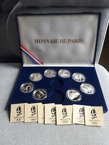 A-complete-Coffret-Albertville-jeux-olympique-100-francs-1992-8-medaille-argent