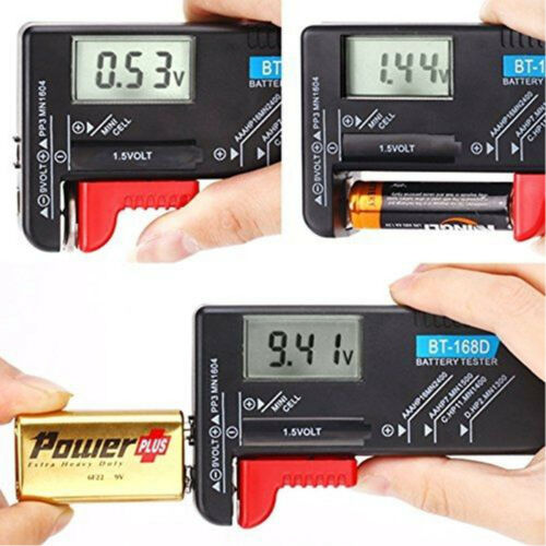 Digital Universal Battery Tester for AA AAA C D 9V and Button Cells LCD Display