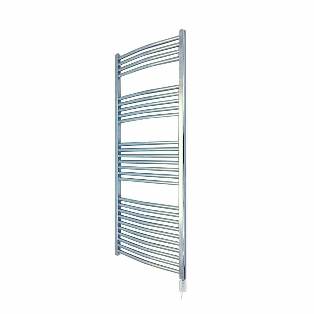 400mm x 1400mm Curved Chrome 300W Thermostatic Electric Towel Rail & Element