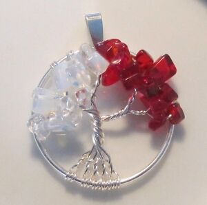 Tree-of-Life-Necklace-Pendant-Genuine-Gemstone-Wire-Wrap-Silver-Two-Birthstones