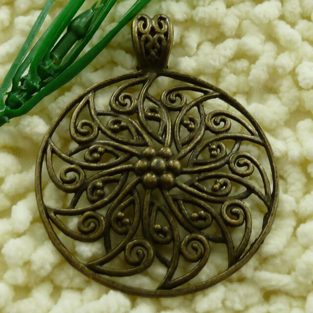 Free Ship 18 pcs Antique bronze flower pendant 69x56mm #1557