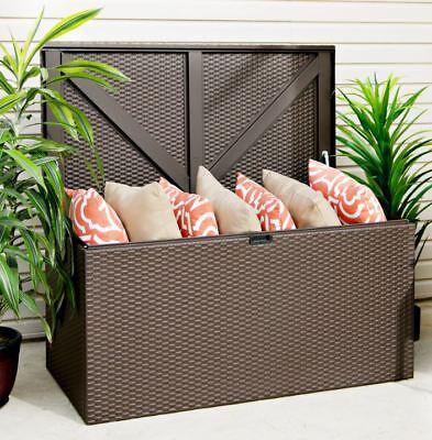 Auflagenbox, Gerätebox, Linz Javabraun 132x69 Cm, Gartenbox Mit Boden, Verzinkt