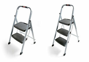 Rubbermaid Folding Steel Frame Stools With Hand Grips And