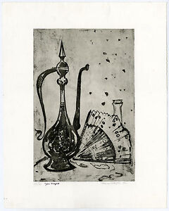 Antique-Print-STILL-LIFE-MOCHA-JAR-FAN-BOTTLE-STOPPER-Wiegers-1975