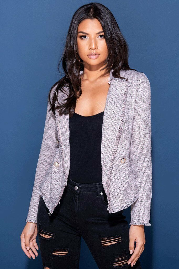 Rosa BOUCLE TWEED PEARL BUTTON BLAZER
