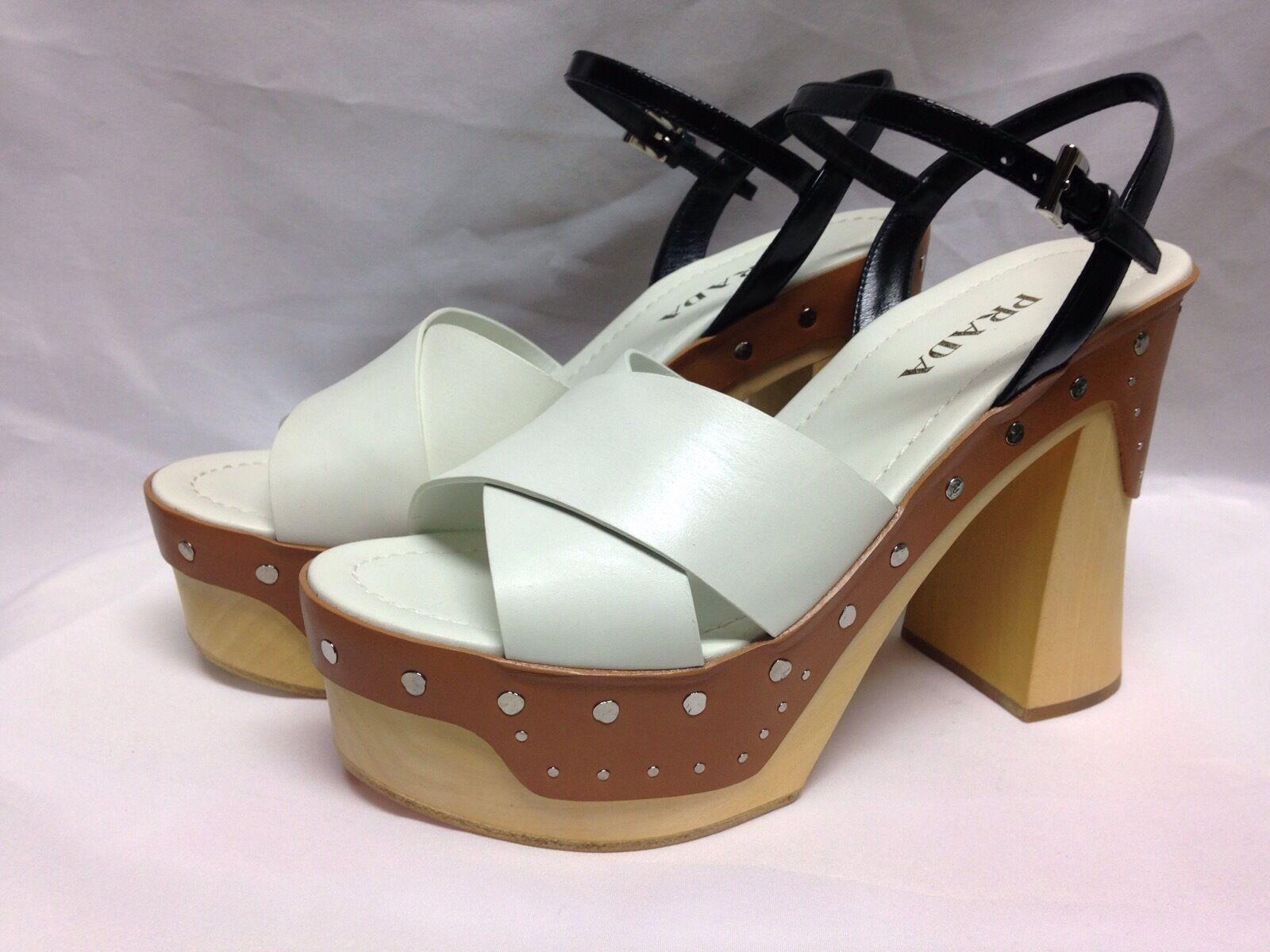 Prada Two Tone Criss Cross Platform Sandal  White Natural   New with Box