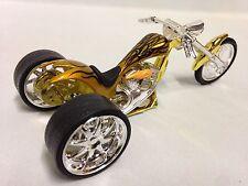 Vintage Three Wheels Bike Iron Chopper Motorcycle, Die Cast 1:18 Scale, Toy Gold