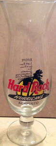 Hard-Rock-Cafe-ACAPULCO-9-034-Hurricane-Glass-w-HRC-Logo-Palm-Trees-amp-DRINK-RECIPE