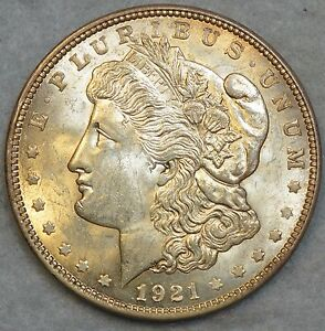 1921 Morgan Silver Dollar Soft Glow Great Luster UNC * FREE SHIPPING * 76120