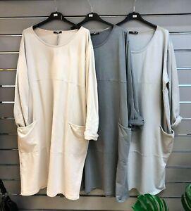 Blasenpflaster 2 Pocket einfache Tulip/Fallschirm Cocoon Kleid Saum Kleid 14-22 * d grau *