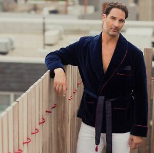 Men-039-s-Blue-Velvet-Smoking-Jacket-Robe-De-Chambre-Evening-Party-Wear-Blazer-Coats