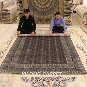 Yilong-6-039-x8-5-039-Classic-Silk-Rug-Purple-All-Over-Hand-Knotted-Orient-Carpet-0250