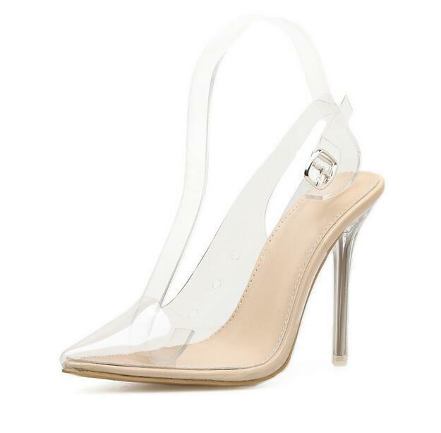 New Womens Womens Womens Sexy Transparent Clear Stilettos High Heel Pointy Toe Slingback shoes ef7da8