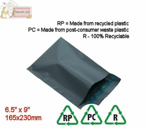 "10 Grey Mailing Envoi Parcel Post Sacs 6.5/"" X 9/"" Self Seal 165x230mm recyclé"
