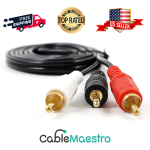 3.5mm Male Audio to 2 RCA Stereo Cable 6ft 10FT 15ft 12ft 10ft 25FT
