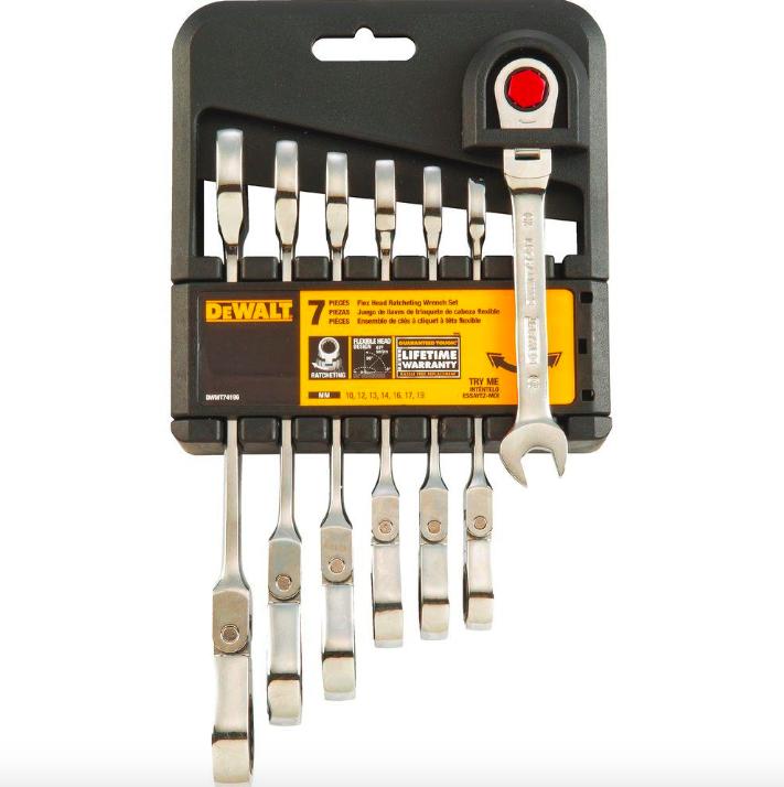 Dewalt Metric Ratcheting Flexible Flex Head Combination Wrench Set 7 Piece Tool