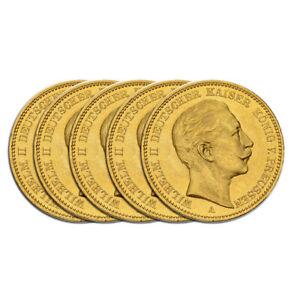 5 x 20 Mark Gold Kaiser Wilhelm II. Preußen Deutsches Reich Goldmünze