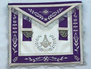 Masonic Blue Lodge Past Master Silver Handmade Embroidery Apron Purple Velvet