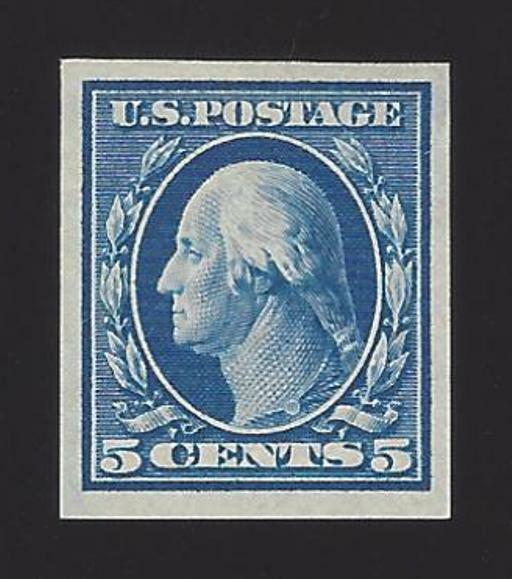 1909 5c George Washington, Imperforate, Blue Scott 347