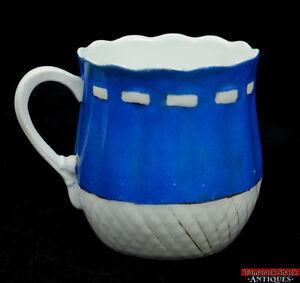 Antique Porcelain Shaving Mug Blue Hand Painted w/ Drawstring & Weave Pattern