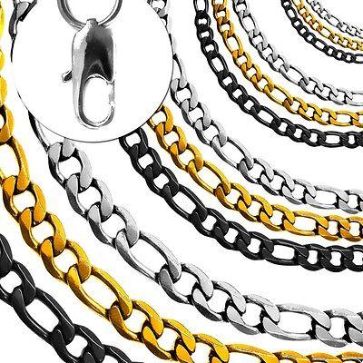 1 Edelstahlkette Armband Figarokette Panzerkette Königskette Ankerkette Silbern
