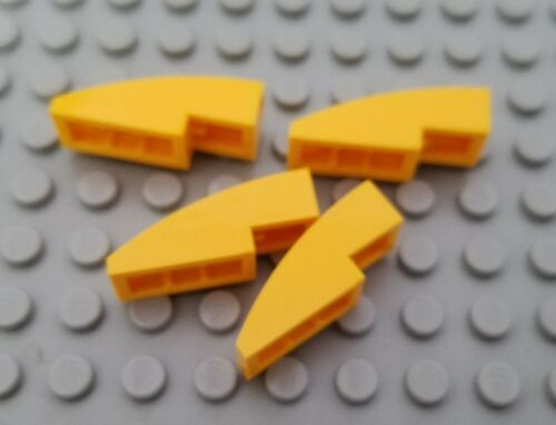 New LEGO Lot of 4 Bright Light Orange 3x1 Curved Slope Pieces