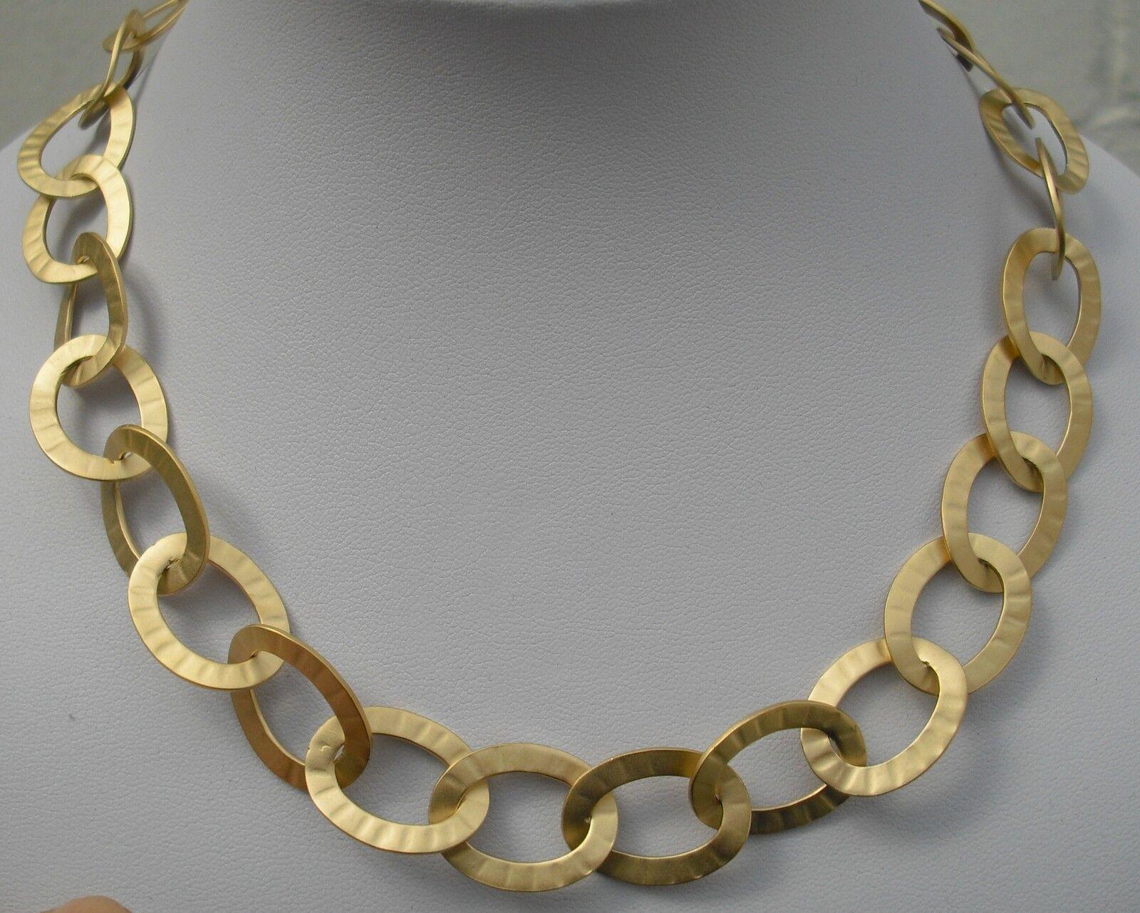 Halskette Collier vergoldet  mit ovalen Kettengliedern - 49 cm - NEU