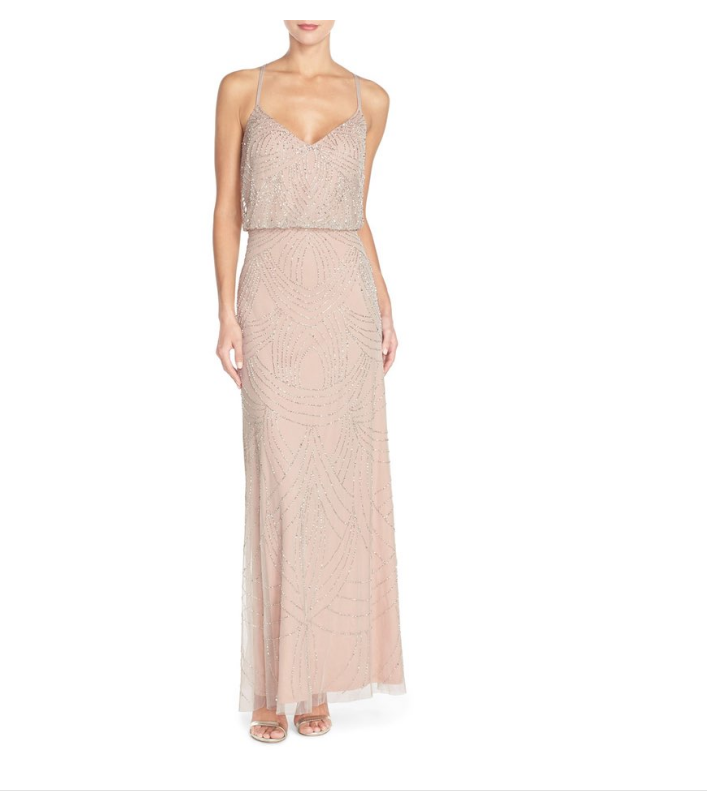 Adrianna Papell Beaded Blouson Gown Silver Nude sz 8 Bridesmaid Prom Mesh