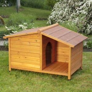 Nouveau-en-Bois-Exterieur-Chien-Chenil-avec-porche-TAILLES-SMALL-amp-LARGE