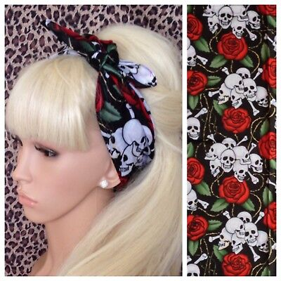 HEAD SCARF HAIR BAND PINK BLUE ROSE FLOWER roses stretch NECK TIE ROCKABILLY NEW