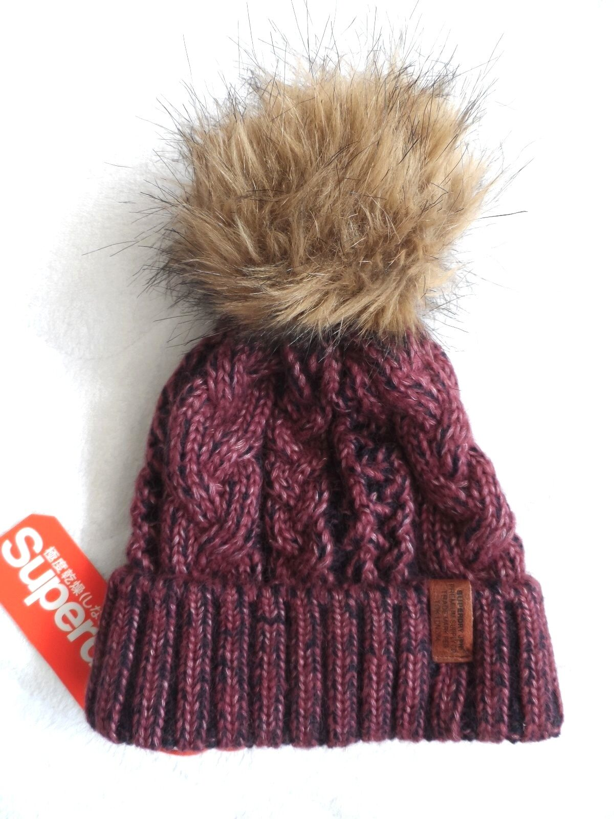 4f6337aa5 Womens Superdry Burgundy Navy Wool Cable Knit Bobble Hat Beanie Faux Fur  Pompom