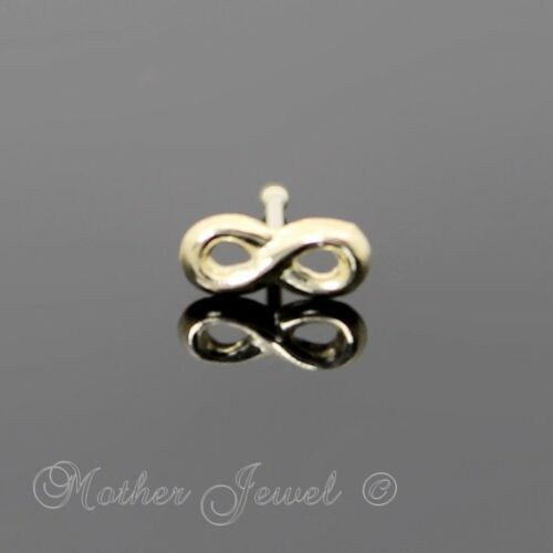 22G REAL GENIUNE SOLID 9K YELLOW GOLD INFINITY FOREVER NOSE STUD PIN BALL END