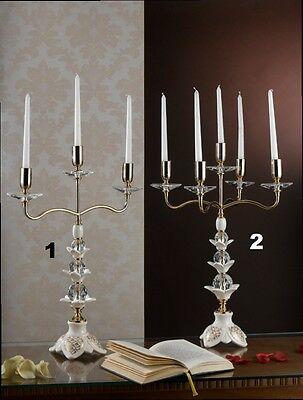 Audace Candeliere A 3 Candeliere A 5 In Ceramica Avorio E Oro Con Cristalli Via Veneto Per Produrre Un Effetto Verso Una Visione Chiara