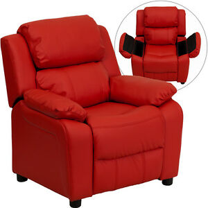 Contemporary Red Vinyl Kids Recliner with Storage Arms BT-7985-KID-RE<wbr/>D-GG