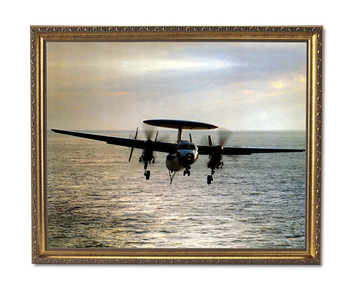 E-2C Hawkeye Navy Jet Airplane Wall Picture oro Framed Art Print