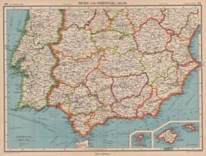 Map Of Spain Extremadura.Details About Iberia South Spain Portugal Andalusia Murcia Valencia Extremadura 1944 Map