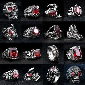 Skull-Cool-Man-Jewelry-316L-Stainless-Steel-Steam-Ram-Men-Punk-Ring-Gothic-Rings