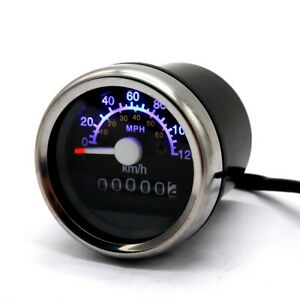 Motorcycle Universal Speedometer Odometer LED Backlight Gauge KMH MPH