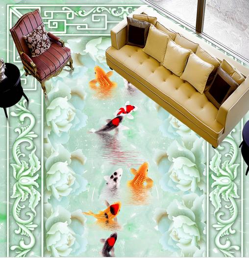3D Lotus Fish 622 Floor WallPaper Murals Wallpaper Mural Print AJ AU Lemon