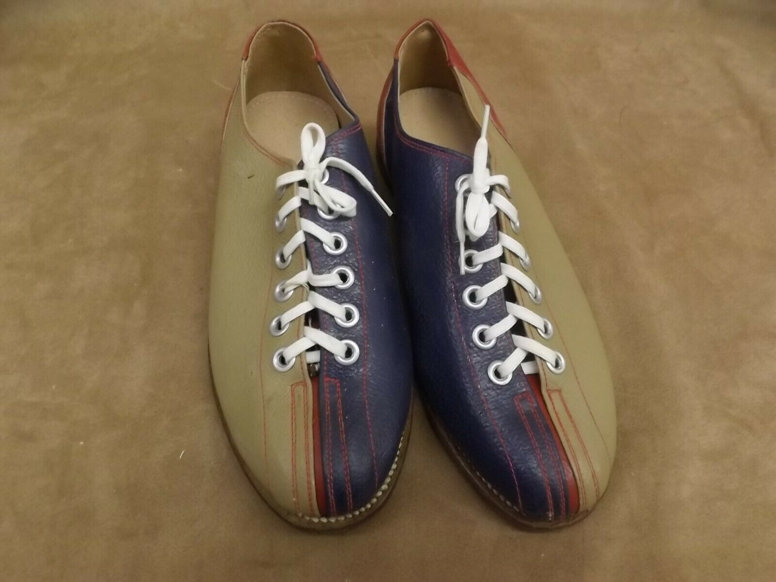 VTG NEW NOS bluee Red Tan Leather Soles & Upper Bowling Rental shoes Womens 5.5