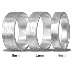 Men Women Sterling Silver Hand Hammered Flat Wedding Band Ring
